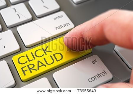 Close Up view of Male Hand Touching Yellow Click Fraud Computer Key. 3D.
