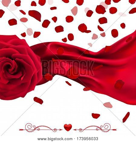 red rose with falling petals and billowing cloth in the wind