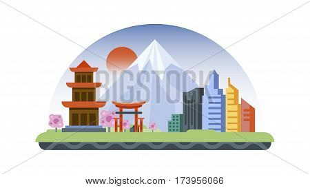 Vector illustration background icon in flat style architecture buildings monuments town city country travel printed materials, cover, Japan, monuments, Tokyo, Japanese culture, landscape, mountain