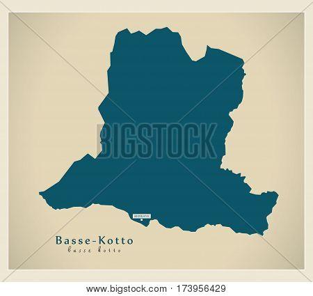 Modern Map - Basse-Kotto CF illustration silhouette