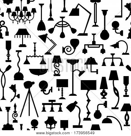 Vector Seamless Pattern With Lamps.
