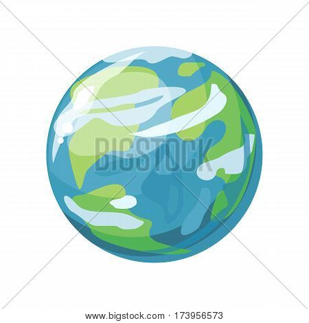 Planet Earth icon. Globe icon. Element of solar system. Solar system. Isolated planet. Blue round planet. Isolated object in flat design on white background. Vector illustration.
