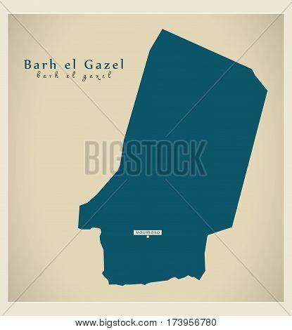 Modern Map - Barh el Gazel TD illustration silhouette