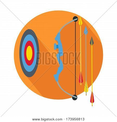 Arrow with target icon web button. Concept icon for business strategy, mission, target and arrows flat design style. Arrow hit goal ring in archery target. Design element, sign, symbol. Vector