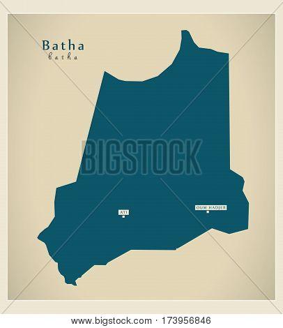 Modern Map - Batha TD illustration silhouette