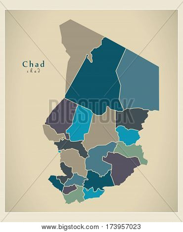 Modern Map - Chad With Regions Colored Td