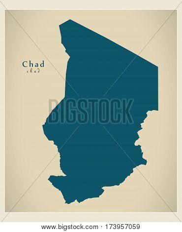 Modern Map - Chad TD illustration silhouette
