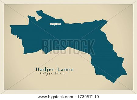 Modern Map - Hadjer-Lamis TD illustration silhouette