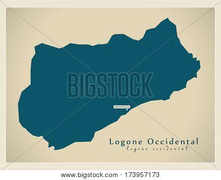 Modern Map - Logone-Occidental TD illustration silhouette