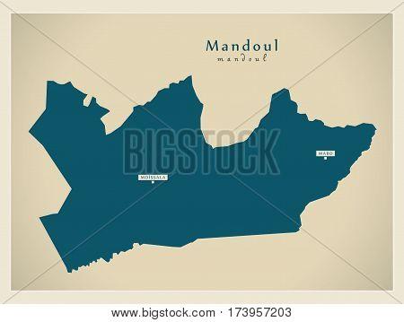 Modern Map - Mandoul TD illustration silhouette