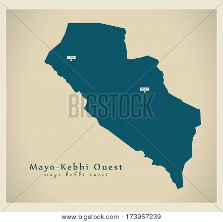Modern Map - Mayo-Kebbi Ouest TD illustration silhouette