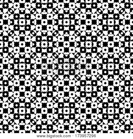 Vector monochrome seamless texture, black & white specular geometric pattern with simple rounded figures. Repeat tiles. Design element for printing, embossing, decor, textile, fabric, cloth, digital, web