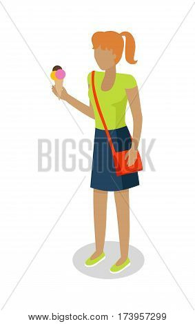 Street food buyer isolated. Woman in casual cloth eats ice cream. Cartoon character with tasty ice corn. Concept illustration for street food consumption. Quick snack. Fast food. Vector in flat design