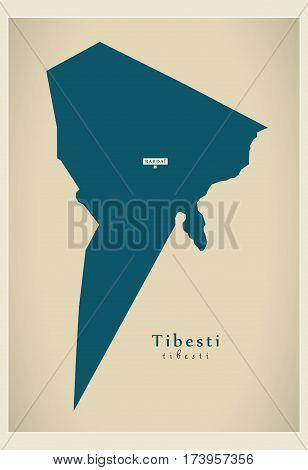 Modern Map - Tibesti TD illustration silhouette