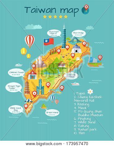 Taiwan map with sightseeing. Taipei. Chiang Kai-shek memorial hall. Keelung. Miaoli. Fo Guang Shan Buddha museum. Pingtung. White sand. Taitung. Yushan park. Yilan. Moon bridge skyscraper Vector