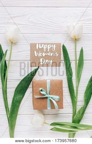 Happy Womens Day Text Sign On Greeting Card  Template With Stylish Present Box And Tulips On White W