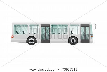 Transport. Urban public transport. White passenger bus with two automatic doors. Fast long four-wheeled mean of transportation. Front and back headlights. Simple cartoon style. Flat design. Vector.