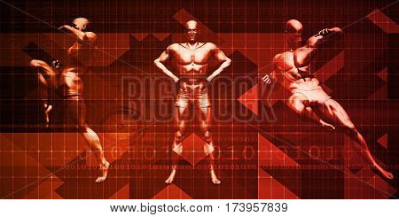 Fitness Training with Muay Thai Attack Pose Art 3D Illustration Render
