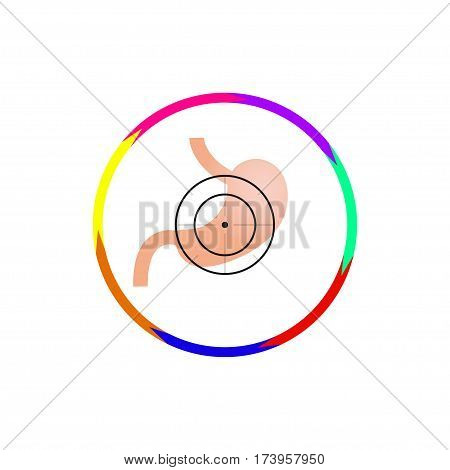 Vector illustration. The emblem logo. Stomach at gunpoint. Outline circle of seven colors. Different colors.
