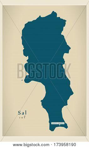 Modern Map - Sal CV illustration silhouette
