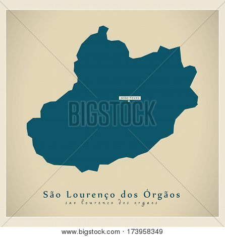 Modern Map - Sao Lourenco dos Orgaos CV