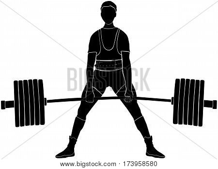 male athlete power lifter deadlift in power lifting black silhouette