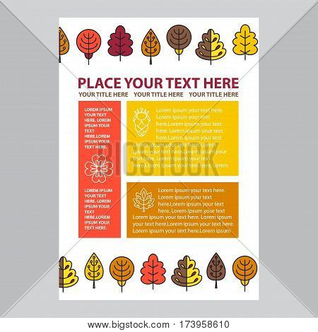 Template banner with autumn trees. Stock vector template easy to use. Ecology themes. Size A4. Eps 10