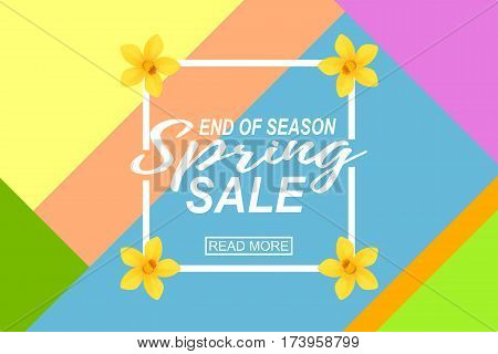 Spring Sale Banner Sale Poster Sale Flyer Sale Vector illustration with geometric background and yellow daffodils.
