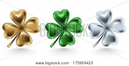 Golden green and silver clover leaf isolated on white background vector illustration for St. Patrick day. Four-leaf jewelry 3d design.