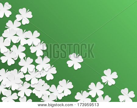 Green St. Patrick day background with clover four-leaf flat white paper cut leaves. Vector simple design.