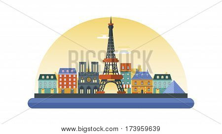 Vector illustration background icon in flat style architecture buildings monuments town city country travel card, cover, France, monuments, Paris, French culture, landscape, Eiffel Tower, capital