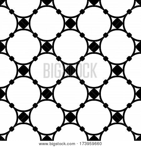 Vector monochrome seamless pattern, subtle geometric texture, illustration of mesh, round lattice with nodes. Black & white simple abstract repeat background. Design for decoration, digital, textile