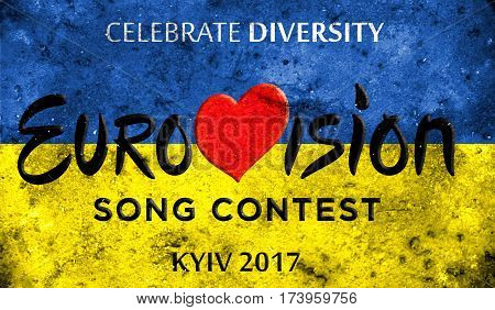 Photos Banner With The Official Logo Of The Eurovision, Eurovision 2017 In Kiev.eurovision Song Cont