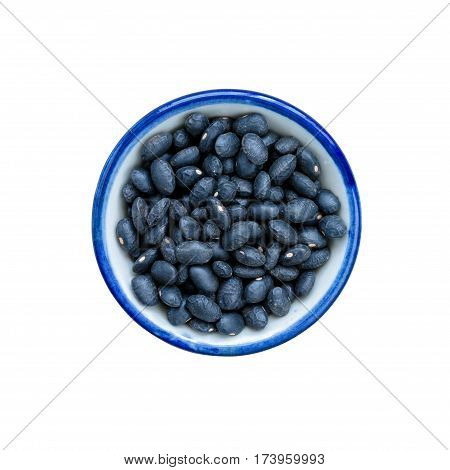 Vigna mungo in bowl on white. This has clipping path.