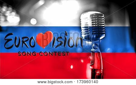 Photos Banner With The Official Logo Of Eurovision In The Russian Flag, Eurovision Song Contest