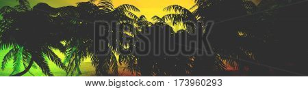 Panorama of tropical beach with palms. an island in the ocean. 3d rendering. Rastafarian effect
