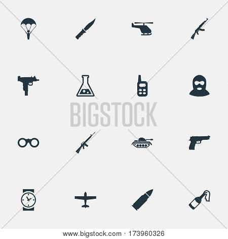 Set Of 16 Simple Terror Icons. Can Be Found Such Elements As Pistol, Terrorist, Firearm And Other.