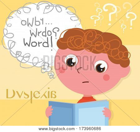 Child affected by dyslexia reading a book, digital illustration