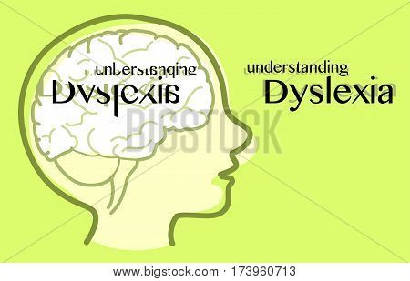 Understanding dyslexia seeing like a dyslexic, vector illustration.