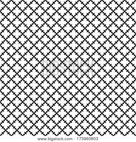 Vector seamless pattern. Abstract black & white texture with curved geometric shapes, barbed figures. Repeat tiles. Endless ornamental background, gothic style. Design for prints, textile, decor, digital, web
