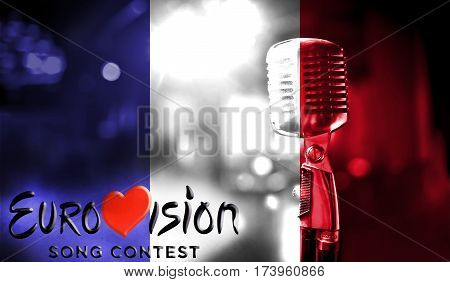 Photos Banner With The Official Logo Of The Eurovision Song Contest In The France Flag.