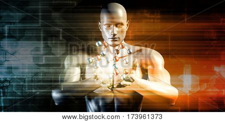 Man Holding Molecule and Cradling a Precious Commodity 3D Illustration Render