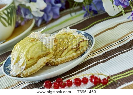 apple cheesecake with cup of tea sweet dessert still life apple cheesecake with cup of tea sweet dessert red currant still life