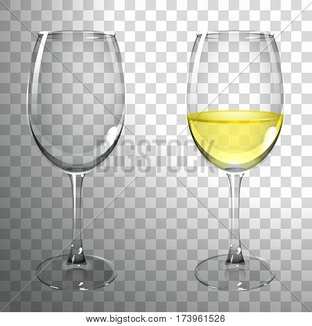 glass of white wine on a transparent background