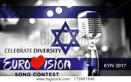Photos Banner With The Official Logo Of The Eurovision Song Contest In The Israel Flag, Eurovision 2