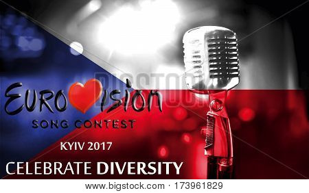 Photos Banner With The Official Logo Of The Eurovision Song Contest In The Czech Republic Flag, Euro