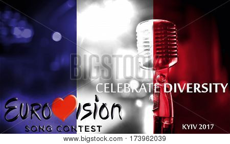 Photos Banner With The Official Logo Of The Eurovision Song Contest In The France Flag, Eurovision 2