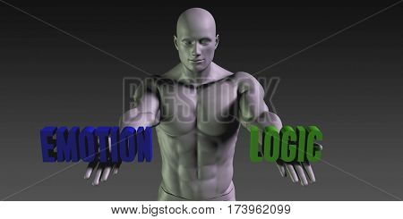 Emotion or Logic as a Versus Choice of Different Belief 3D Illustration Render