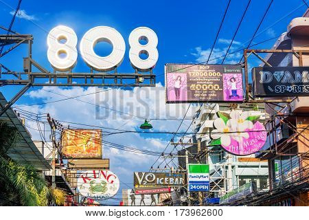 PATTAYA THAILAND - JANUARY 20: Bar club and shop Signs on walking street in Pattaya city which is the main tourist street for nightlife on January 20 2017 in Pattaya