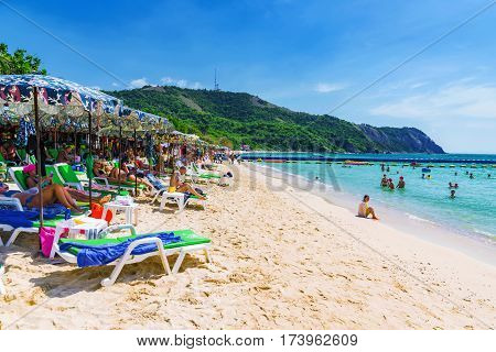 PATTAYA THAILAND - JANUARY 19: This is a beach on Koh Land island which is a small island in Pattaya where many tourists go to sunbath and swim on January 19 2017 in Pattaya